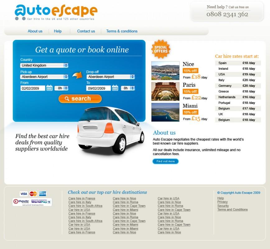 Refonte graphique complète du site AutoEscape UK