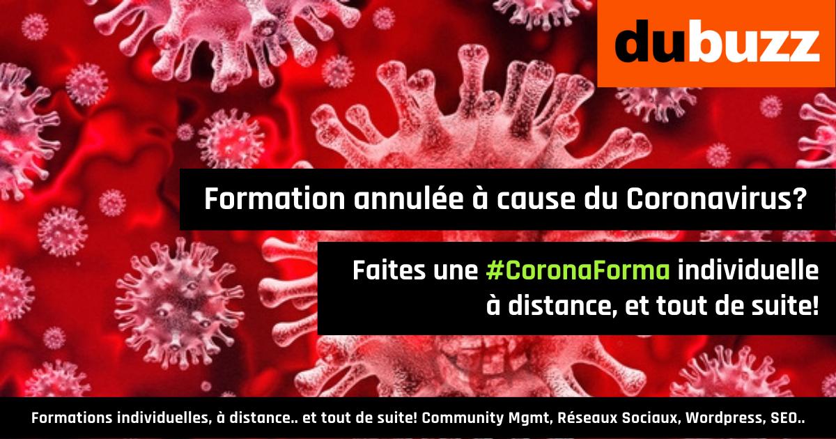 Les CoronaFormas: c'est pas un gros virus qui va nous empêcher de faire une petite formation
